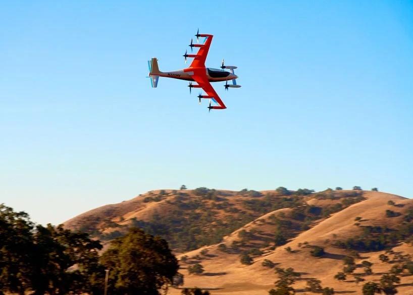 Американская компания представила первый бесшумный полностью электрический самолет с 8-ью двигателями