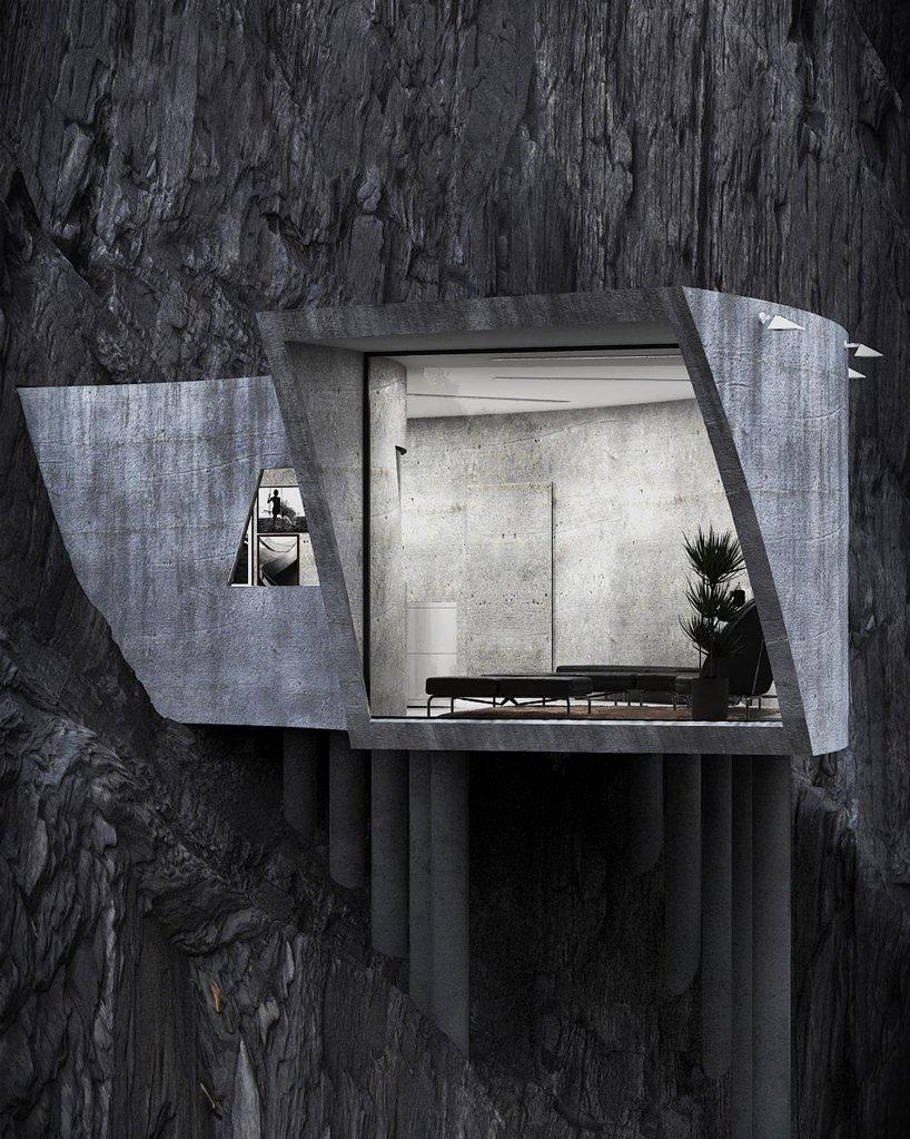 Бетонный дом на скале. Брутальная вилла от иранского архитектора…