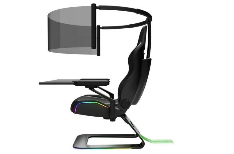 Это футуристическое игровое кресло оснащено 60-дюймовым гибким OLED-дисплеем