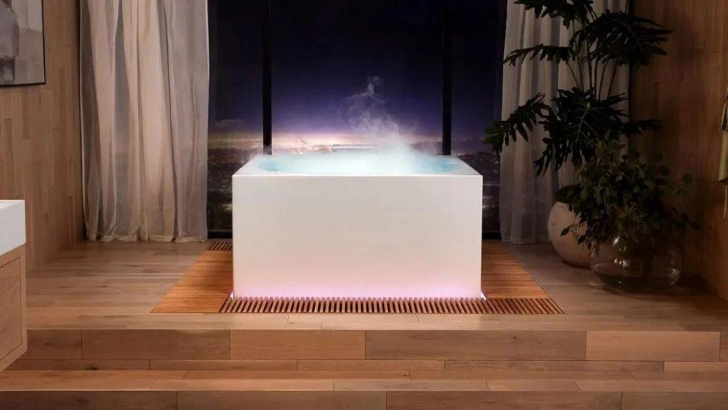 Умная ванна Kohler с голосовым управлением, декоративной подсветкой и искусственным паром обеспечивает непревзойденное расслабление
