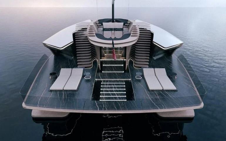 Роскошный катамаран Capitolo оснащен стеклянными каютами, большой палубой и мраморной мебелью