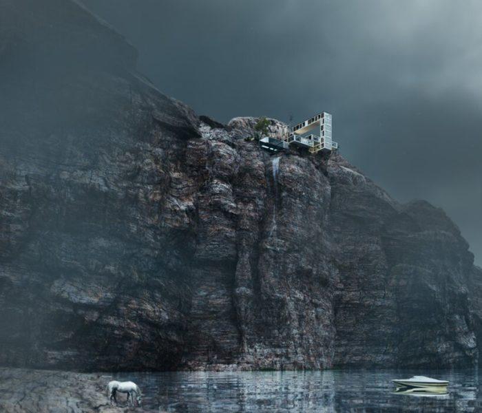 Необычный дом извивается над скалой в трех измерениях